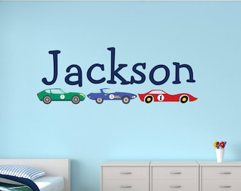 Personalized Name Wall Decal   Race Cars Wall Decal   Boys Bedroom Decor    Kids Wall