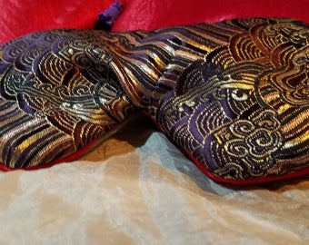 Purple, gold, black brocade eye mask, sleep mask