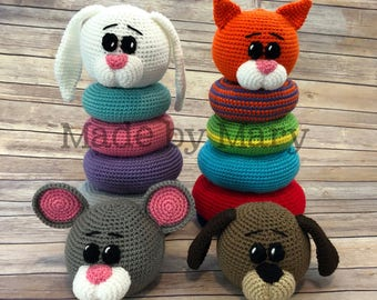 PDF PATTERN: Ring Stacker Pet Animals **Crochet Pattern Only, Not Actual Doll!** Crochet Toy