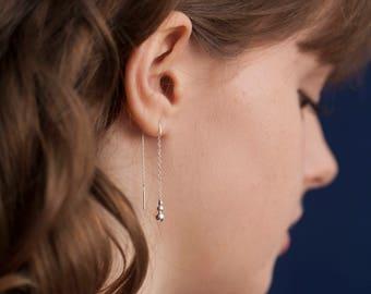 Modern Silver Earrings - Threader Bridal Earrings - Contemporary Wedding Earrings - Dangle Earrings - Bridesmaids Earrings