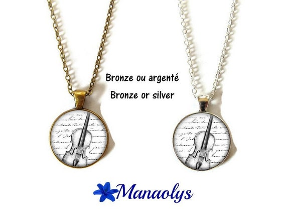 Collar or necklace, violin, violinist, musician, cabochons glass, silver or bronze backings