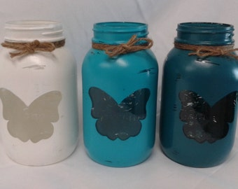 3 Hand painted quart size Mason jars Butterfly luminaries Rustic vases/candle holders Country farmhouse decor White, bimini blue,tuscan teal