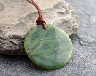 Canadian nephrite jade pendant gogo donut necklace ago ago canadian nephrite jade pendant w brown leather green bc jade 45mm diameter circle necklace boho 12th 30th and 35th anniversary aloadofball Choice Image