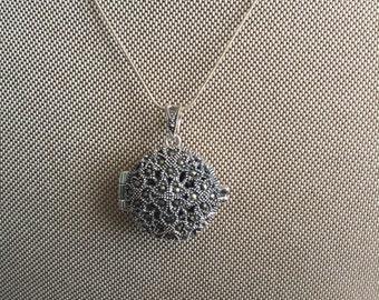 925 Silver Marcasite Locket Pendant