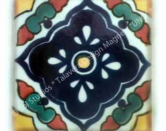 "NEW. Square Talavera Tiles Design handmade magnet. (Design name ""UNO"")"