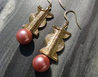Gold Weight and Pink Pearl Earrings