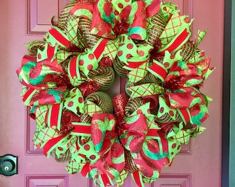 ON SALE Christmas Wreath for Front Door, Red and Green Wreath, Christmas Door Wreath, Holiday Door Wreath for Winter, Winter Holiday Decor
