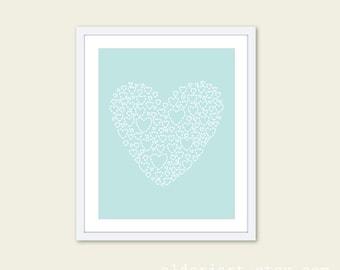 Blue Heart Art Print - Modern Heart Wall Art - Heart Poster - Blue Nursery Decor - Pastel Nursery Decor - Under 20