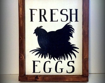 Fresh Eggs sign, Rustic farmhouse sign, hand painted chicken sign, farmer's market sign