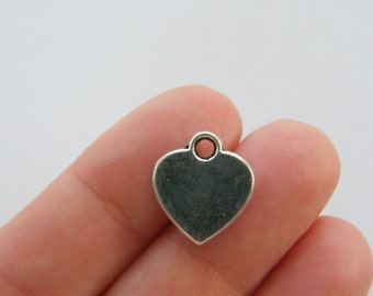 8 Heart charms antique silver tone H22