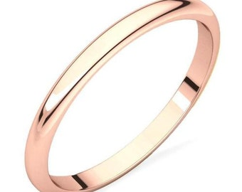 14K Rose Gold Polished Domed Engagement, Anniversary or Wedding Band - 2mm Wide - Custom Ladies Band Sizes - Regular Fit Ring - Solid 14K