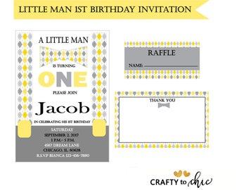 Little Man's 1st Birthday DIGITAL DOWNLOAD Invitation - Yellow and Gray