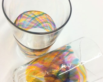 Set of 2 Hand Blown Art Glass Pint Glasses, Sunset Band Tumblers Barware Wedding Registry Gifts
