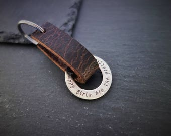 Genuine leather keyring with engraving (stainless steel)