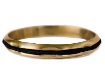 Hair Tie Bracelet, Hair Tie Holder, Hair Tie Bangle - Brushed Gold