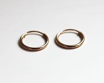 Mini Gold Hoop Earrings (14K gold)