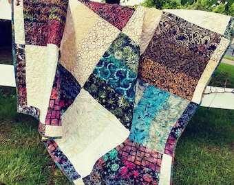 Quilt, lap, couch, throw, batik, browns and blues, classy, large size