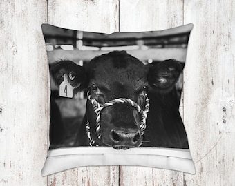 Cow Decorative Pillow - Throw Pillows - Farmhouse Decor - Black & White Decor - Gifts - Rustic - Cow Decor - Cows - Country Decor