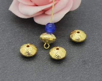 20 spacer beads, etched brass 10 x 6 mm PMD15