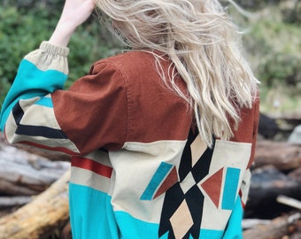 Vintage Wyco Original Western Tribal Print Jacket Coat / Teal and Brown / Size Small 80s 90s