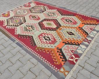 "5'8"" x 8'4"" Turkish Classic Antalya Kilim Hand Woven Natural Wool Area Rug Zigzag Kilim 176 cm x 256 cm FREE shipping to USA from Turkey"
