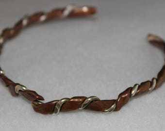 Copper and Silver twisted bracelet.  (061617-045)