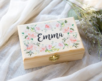 Flower Girl or Bridesmaids Gift Box Jewelry Box Personalized Name, Wooden Box for Wedding Bridal Party Gift Name Box (Item - JBF340)