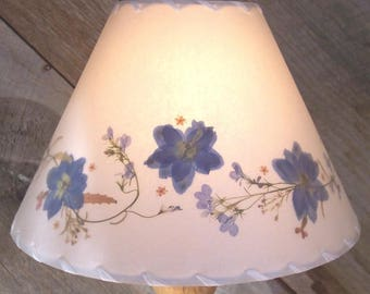 Botanical Lampshade with Blue Delphinium, Real Pressed Flower Lamp Shade, Floral Border Design Lampshade, Small or Medium Table Lampshade