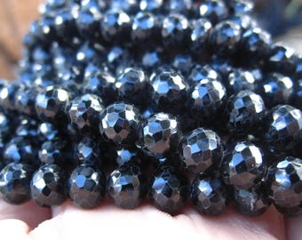 Black Spinel beads faceted rounds 6mm 6 1/2 inch strand