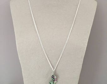 Long necklace silver green and pink