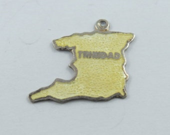 Enameled Map of Island of Trinidad Sterling Silver Charm or Pendent.