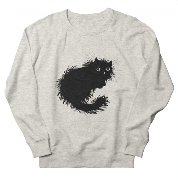 Moggy - Men's / Women's Sweatshirt - Heather Oatmeal by Oliver Lake - iOTA iLLUSTRATiON