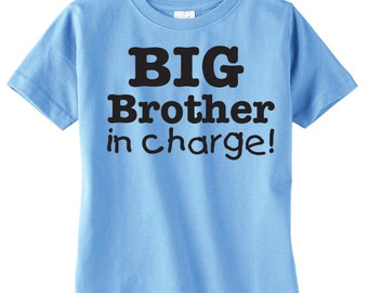 Custom Sibling Shirt, Big Brother In Charge Shirt, Available For Big, Bigger, Biggest, Baby, Little, Middle Brothers And Sisters