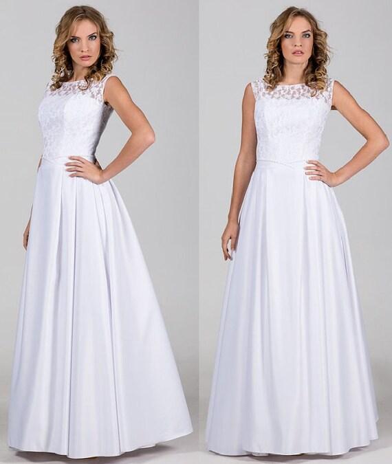 Boho Vintage inspirierte a-Linie Brautkleid mit Spitze