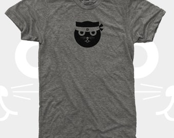 Cat Shirt Men, Kung Fu Watson the Cat TShirt, Funny Graphic Tee, Blue, Gift Cat Lovers, Hipster, Ninja Kitty, Gift for Men, Mens Cat Shirt