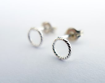 Small Braided Circle Stud Earring. Sterling Silver Handmade Studs. Recycled Round Rope Stud. Eco Friendly Tiny Hoop Stud. One Single Stud.