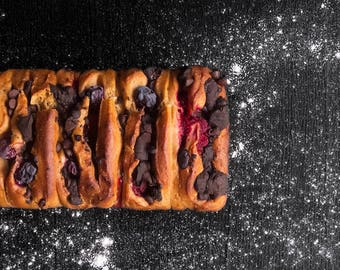 Berries and chocolate bread, food photography, cake print, kitchen print, kitchen decor, dining room art, home decor