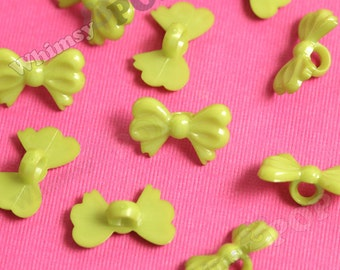 20 - Green Bow Buttons for Sewing Scrapbooking and More, Buttons, 12mm x 19mm (R6-001)