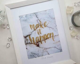 Custom quote print, marble print, custom calligraphy print, liquid glass letters, glitter calligraphy, custom quote wall art, gift for her