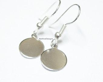Silver Discs Earrings. Silver Earrings. Silver Coin Earrings. Small Dangle Earrings. Small Coins Earrings/Stainless Steel Earrings/