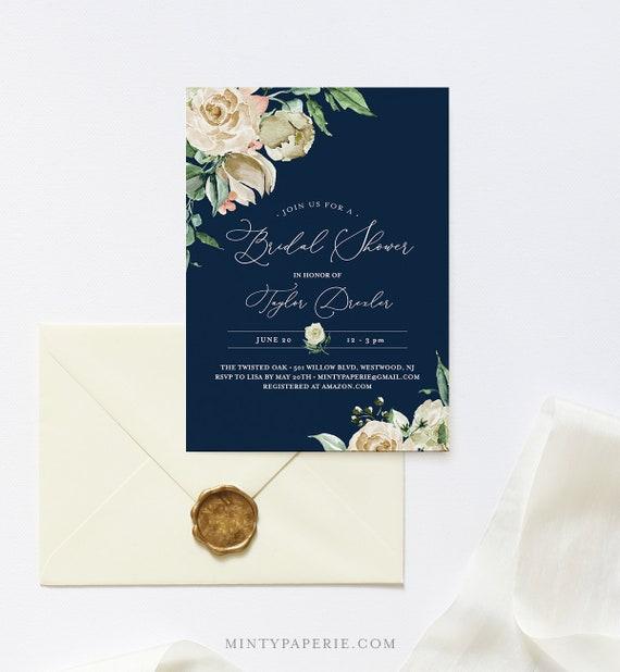 Navy & Cream Bridal Shower Invitation Template, INSTANT DOWNLOAD, Printable Vintage Floral Wedding Shower Invite, Editable Text #160BS
