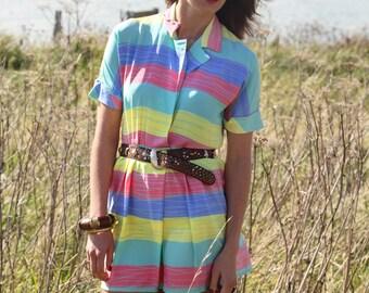 Rainbow, Vintage, Pastel Stripe Shirt Mini Dress