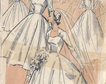 1950s Vintage Sewing Pattern B34 BRIDE'S WEDDING DRESS (1404R) Weldons 27