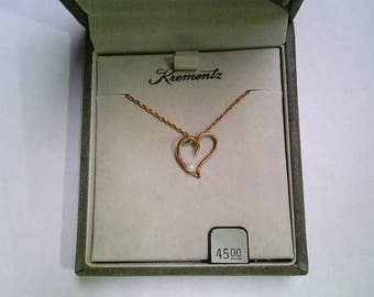 Vintage Krementz 14K Gold Overlay Heart and Pearl Pendant and Chain Necklace