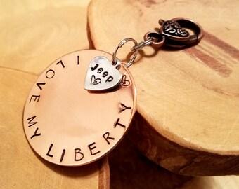 LIBERTY Jeep Legacy line hand stamped copper keyfob keychain OIIIIIIIO