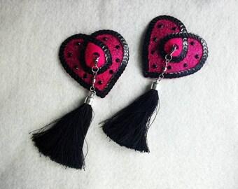 Burlesque pasties - tassels - Valentine's heart shaped nipple pasties