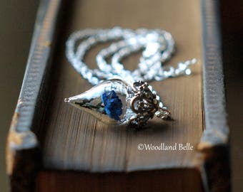 Rare Blue Rose Necklace Tiny Flower Terrarium Glass Vial - Beauty and the Beast - by Woodland Belle