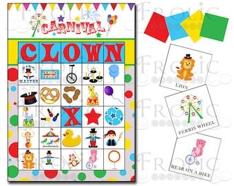 Circus Carnival Bingo 10 printable cards INSTANT DOWNLOAD
