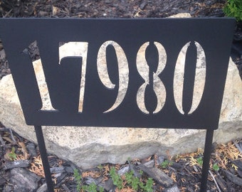 Custom Metal Fabricated Address Sign House Numbers Address Plaque Rectangle or Oval Freestanding