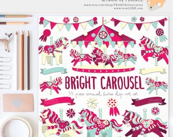 3 FOR 2. Carousel Horse Clipart Set. Pretty Little Pony. Cute Scrapbook Party Art. For Invitations, Wall Art. Decorative. Bunting. Banners.